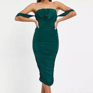 Green Off Shoulder Draped Ruched Dress